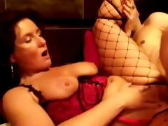 non-professional visits older hooker in fishnets