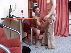 russian mom dark brown hair mature with a