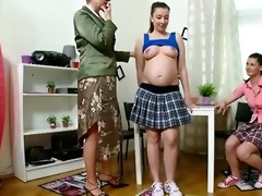 preggo student and her ally get taught lesbo