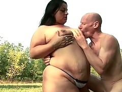 fatty sweetheart craves to fuck granpa with his