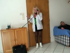 blond grandma in darksome stockings rides