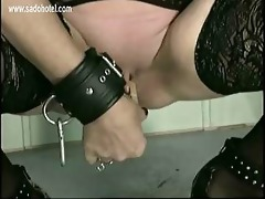 slavemaster put clamps of excited granny bondman