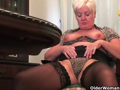obese granny in nylons plays with sextoy
