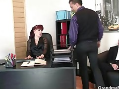 office slut pleases two cocks