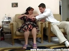 older lady awards guy for cleaning