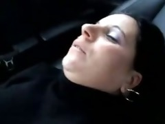 experienced wife pressed in the car