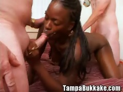 ebony hotty four way bukkake party