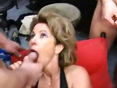 german aged housewife acquires loads of cum on
