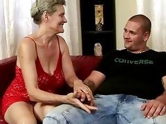 breasty grandma riding youthful pounder