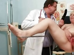 golden-haired grandma gets her snatch examed