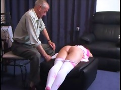 old man punishes a girl