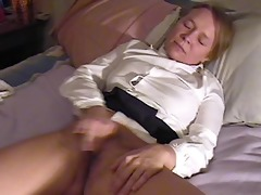 hotty masturbates and cums twice, interrupted by