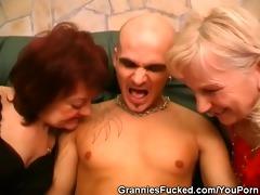 lewd aged women share a rod