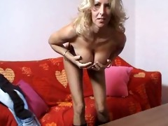 foxy golden-haired aged lady masturbates