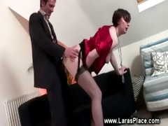 mature lady in suspenders copulates and sucks