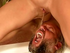 granddad and young hotty pissing and fucking