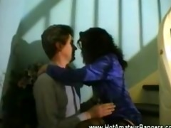 non-professional guy acquires bj by the stairs