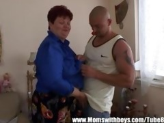 lewd older lady seduces the tv repair-man
