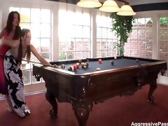sexy lesbo pool table fuck