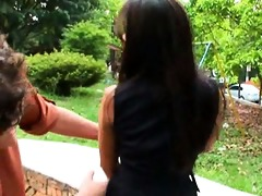 pleasant dark brown latin babe receives drilled
