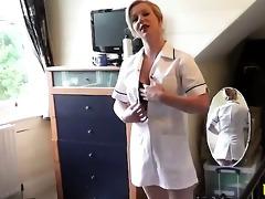 aged stockinged nurse fingering