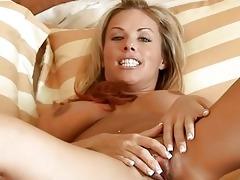 golden-haired milf massages her biggest breast