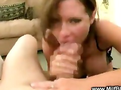 kinky cougar mamma is buffing the helmet