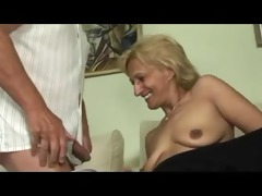 golden-haired mature masturbates and sucks and