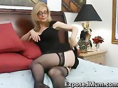 golden-haired mum in glasses licking hard part2