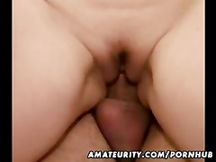 breasty non-professional wife sucks and bonks in