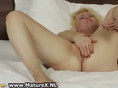 concupiscent golden-haired older housewife