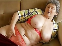 big beautiful woman granny playing with electro