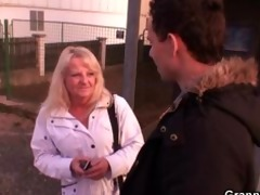 guy picks up blonde granny and bangs her