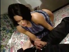italian milf brunette hair strokes and sucks