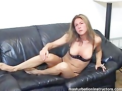 dominant-bitch shows her melons and rubs herself