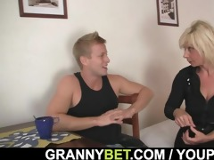old blond rides her neighbour large pounder