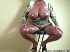 nasty massive titted blond acquires oily