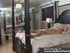 tied up stud receive tickled by breasty cheek