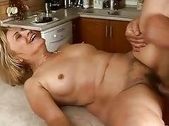 lusty granny gets drilled hard in the kitchen
