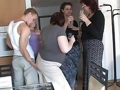four slutty mommys enticed cute boy to coll group