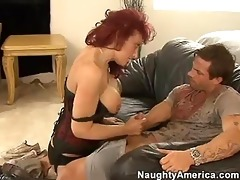 red headed momma nikki sinn stuffs her moist