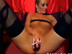 blonde d like to fuck smokin and toying with a
