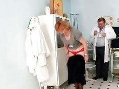 redhead granny messy twat stretching in gyn clinic