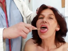 hirsute snatch grandma visits pervy woman doctor
