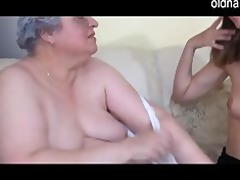 old breasty granny playing with slender angel