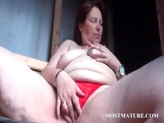 outdoor slit masturbation with aged