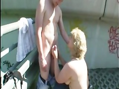 golden-haired older broad outdoor fuck