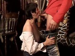 nasty mature bitch sucks on a rod
