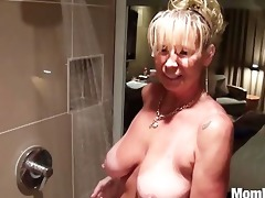breasty cougar drilled in the shower bts