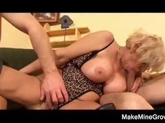 hawt grandma play with her toy and a young cock